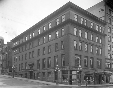 St. Francis Hotel, corner of Cordova and Seymour Streets, about 1925, Vancouver City Archives, Hot N45; http://searcharchives.vancouver.ca/st-francis-hotel-corner-of-cordova-and-seymour-streets.
