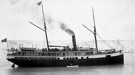 The City of Topeka in 1899 alongside the Muir Glacier, https://en.wikipedia.org/wiki/Pacific_Coast_Steamship_Company#/media/File:City_of_Topeka_Steamship.jpg.