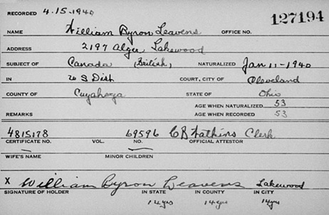 """Ohio, County Naturalization Records, 1800-1977,"" database with images, FamilySearch (https://familysearch.org/ark:/61903/1:1:K8H9-YBR : 29 July 2017), William Byron Leavens, 1940; citing Naturalization, , various county courthouses, Ohio; FHL microfilm 2,251,756."