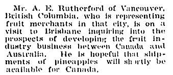 Personal, The Telegraph (Brisbane, Queensland, Australia), November 28, 1925, page 9, column 6; https://trove.nla.gov.au/newspaper/article/177825725.