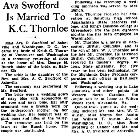 Asheville Citizen-Times (Asheville, North Carolina), August 23, 1942, page 18, column 4.