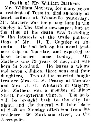 Toronto Globe, January 20, 1906, page 11, column 4.