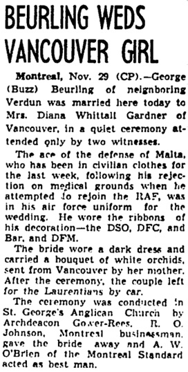 Toronto Globe and Mail, November 30, 1944, page 10, column 3.