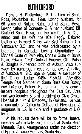 """""""California, Oakland, Alameda County, Newspaper Record Collection, 1985-2011,"""" database with images, FamilySearch (https://familysearch.org/ark:/61903/1:1:QV5M-PYKS : 10 March 2018), Dr Donald H Rutherford MD, 1998; citing Oakland, Alameda, California, United States, Oakland Family History Center, Alameda; FHL microfilm 4,265,560."""