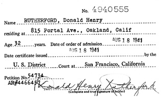 """""""California, Northern U.S. District Court Naturalization Index, 1852-1989"""", database with images, FamilySearch (https://familysearch.org/ark:/61903/1:1:K8ZZ-DCS : 11 March 2018), Donald Henry Rutherford, 1941."""