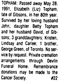 Sunshine Coast News (Sunshine Coast, British Columbia), June 3, 1991, page 17, column 4; https://open.library.ubc.ca/collections/bcnewspapers/xcoastnews/items/1.0176292#p16z0r0f: