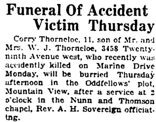Vancouver Daily World, September 5, 1923, page 5, column 1.