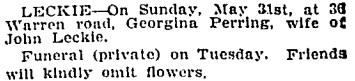 Toronto Globe, June 1, 1908, page 12, column 7.