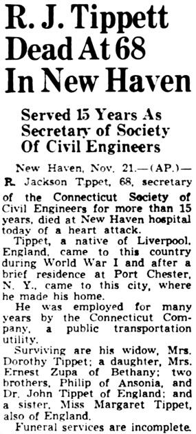 Hartford Courant (Hartford, Connecticut), November 22, 1949, page 7, columns 1-2 [name should be H.J. Tippet].