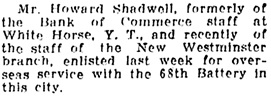 Vancouver Daily World, August 8, 1916, page 5, column 5.