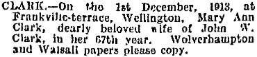 Evening Post, Volume LXXXVI, Issue 132, 1 December 1913, page 1, column 1; https://paperspast.natlib.govt.nz/newspapers/EP19131201.2.128.
