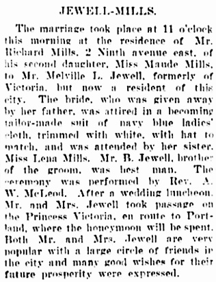 Vancouver Daily World, September 20, 1905, page 12, column 5.