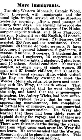 """More Immigrants,"" The Queenslander (Brisbane, Queensland, Australia), October 6, 1883, page 573, column 3; https://trove.nla.gov.au/newspaper/article/19793820."