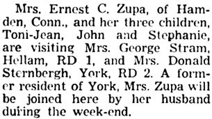 The Gazette and Daily (York, Pennsylvania), August 30, 1952, page 6, column 4.