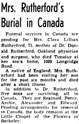 Oakland Tribune (Oakland, California), November 4, 1943, page 15, column 2.