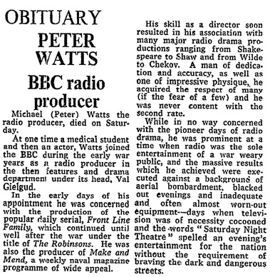 Peter Watts, BBC Radio Producer, obituary, The Times (London, England), December 12, 1972, page 19, column 7.