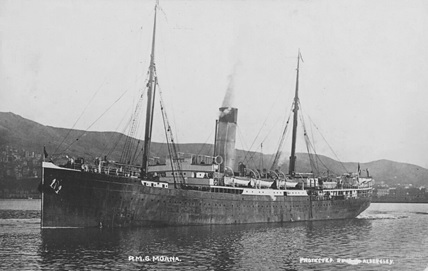 R.M.S. Moana, postcard, unknown date; Museum of New Zealand; registration number: PS.002981; https://collections.tepapa.govt.nz/object/863311.