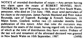 Government Gazette of the State of New South Wales, October 16, 1987 [Issue No.162]; page 5882; https://trove.nla.gov.au/newspaper/article/231372324.