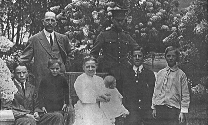 Rutherford Family at 1754 Pendrell Street, about August 1915 (ancestry.ca). Standing: Alfred Edward Rutherford (father); Reginald George McCaskil Rutherford. Sitting: Archie James Rutherford; Donald Henry Rutherford; Clara Lilian Rutherford (mother) with Edward David John Rutherford; Percival Edward Croft Rutherford; Alexander Hall Rutherford.