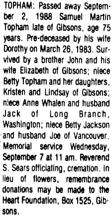 Sunshine Coast News (Sunshine Coast, British Columbia); September 5, 1988, page 19, column 4; https://open.library.ubc.ca/collections/bcnewspapers/xcoastnews/items/1.0176056#p18z-1r0f: