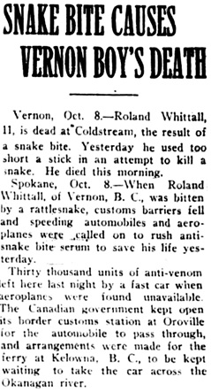 Nanaimo Daily News, October 8, 1927, page 1, column 5.
