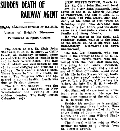 The Chilliwack Progress, March 31, 1921, page 1, column 6.