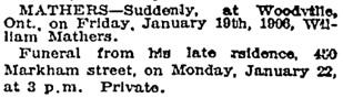 Toronto Globe, January 22, 1906, page 12, column 7.