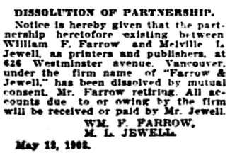 Vancouver Daily World, May 20, 1908, page 19, column 4.