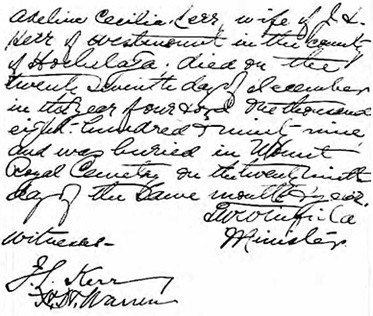 Ancestry.com. Quebec, Canada, Vital and Church Records (Drouin Collection), 1621-1968 [database on-line]. Provo, UT, USA: Ancestry.com Operations, Inc., 2008. Name: Adeline Cecilia Kerr; Religion: Presbyterian; Event Type: Enterrement (Burial); Death Date: 1899; Burial Date: 1899; Burial Place: Westmount, Québec (Quebec); Place of Worship or Institution: Presbyterian, Melville.