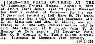 Vancouver Sun - Aug 10, 1922, page 12; https://news.google.com/newspapers?id=SiplAAAAIBAJ&sjid=oIgNAAAAIBAJ&pg=2194%2C4310970 [link leads to centre of page; death notice is in column 1].