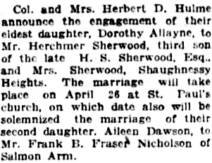 Vancouver Daily World, April 4, 1923, page 7, column 4.