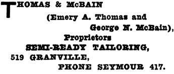 Henderson's Greater Vancouver Directory, 1912, Part 2, page 1247.