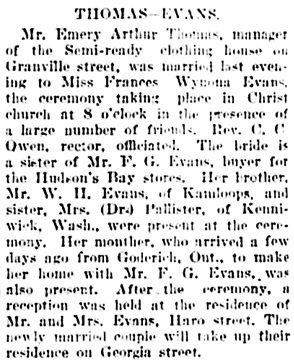 Vancouver Daily World, August 10, 1905, page 5, column 4.