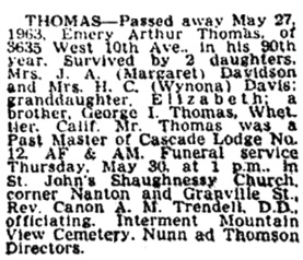 Vancouver Province, May 29, 1963, page 21; Vancouver Sun, May 28, 1963, page 25.