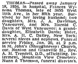 Vancouver Province, January 19, 1956, page 28; Vancouver Sun, January 19, 1956, page 28; https://news.google.com/newspapers?id=okBlAAAAIBAJ&sjid=wokNAAAAIBAJ&pg=3884%2C3104688.