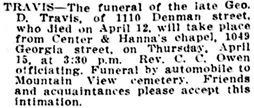 Vancouver Daily World, April 14, 1915, page 10, column 4; Vancouver Sun, April 14, 1915, page 7.