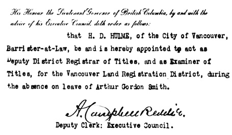 British Columbia Order in Council 1322/1912, December 19, 1912 (portion); http://www.bclaws.ca/civix/document/id/oic/arc_oic/1322_1912.