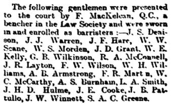 Toronto Globe, February 2, 1892, page 5, column 7 (J.H.D. Hulme in second last line).