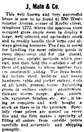 Vancouver Daily World, May 11, 1904, page 23, column 3.