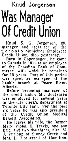 Toronto Globe and Mail, January 17, 1957, page 4, column 1.