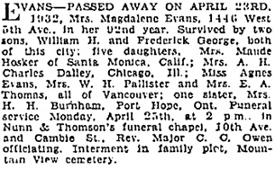 Vancouver Sun, April 23, 1932, page 18; Vancouver Sun, April 24, 1932, page 17; https://news.google.com/newspapers?id=9S5lAAAAIBAJ&sjid=0IgNAAAAIBAJ&pg=3180%2C2585910.