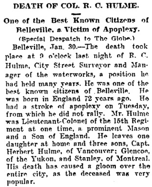 Toronto Globe, January 31, 1908, page 11, column 6.