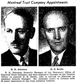 Toronto Globe and Mail, February 20, 1952, page 16, columns 2-3.