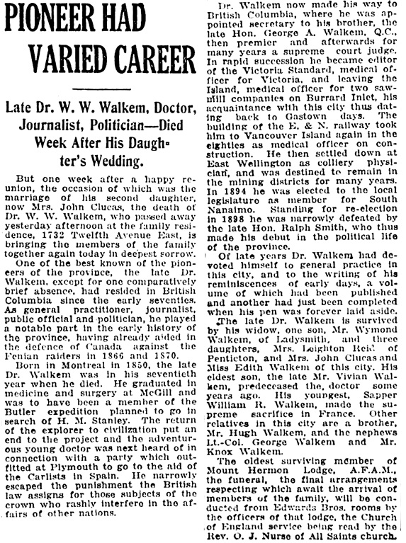Vancouver Daily World, September 30, 1919, page 2, column 4.