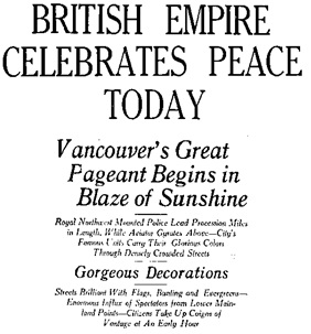 Vancouver Daily World, July 19, 1919, page 1, column 1 [edited image]
