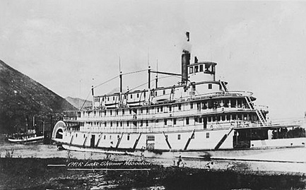 C.P.R. lake steamer Nasookin, postcard, 1910s, https://www.pinterest.co.uk/pin/540009811543832704/.
