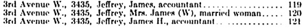 Ancestry.com. Canada, Voters Lists, 1935-1980 [database on-line]. Provo, UT, USA: Ancestry.com Operations, Inc., 2012. Name: James H Jeffrey; Occupation: Accountant; Year: 1935; Location: Vancouver, British Columbia, Canada; Electoral District: Vancouver-Burrard.