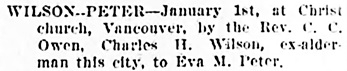 Vancouver Daily World, February 1, 1906, page 9, column 4 [gives date of marriage as January 1, 1906, not January 31.]