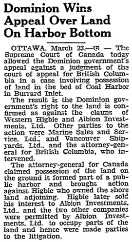 The Lethbridge Herald (Lethbridge, Alberta), March 23, 1945, page 5, column 2.