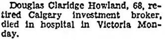The Lethbridge Herald, November 15, 1951, page 4, column 8.